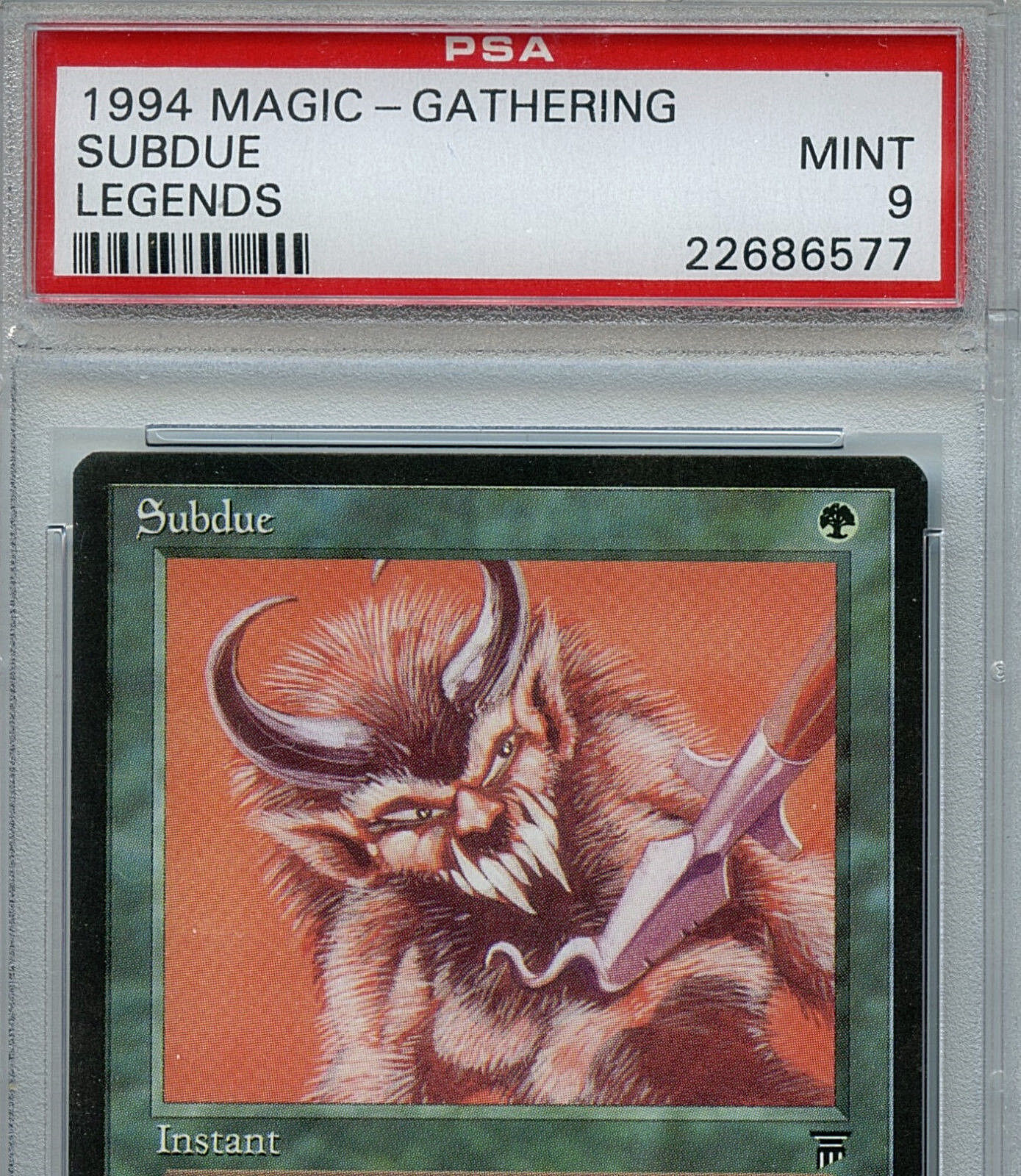 MTG Legends Subdue PSA 9.0 (9) Mint Mint Mint card Magic the Gathering 6577 1ed07a