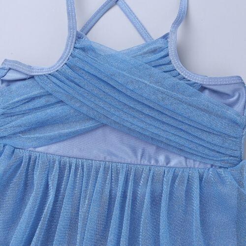 Girls Ballet Latin Dance Dress Kid Lyrical Dancewear Shiny Tutu Skirt Costume