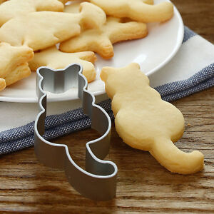 2PC-Cat-Shaped-Aluminium-Mold-Sugarcraft-Cake-Cookies-Pastry-Baking-Cutter-Mould