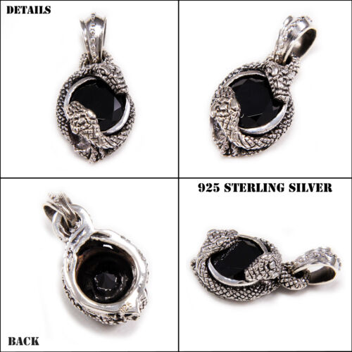 BLACK CUBIC ZIRCONIA SERPENT SOUL PROTECTOR 925 STERLING SILVER PENDANT nd-057