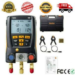 Testo-550-Refrigeration-Meter-Digital-Manifold-0563-1550-2-Pcs-Clamp-Probes-Kits