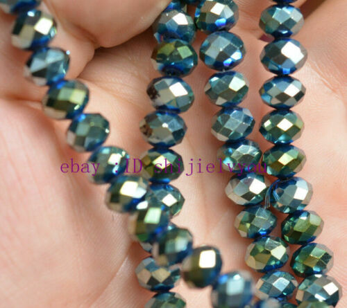 Beautiful 70PC 5x8 mm green multicolor faceted crystal loose beads