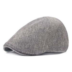 98d92ff5e27 Image is loading Fashion-Casual-Mens-Linen-Duckbill-Ivy-Newsboy-Hat-