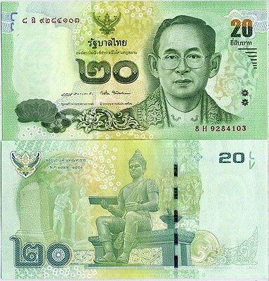 THAILAND 20 BAHT 2016 P 118 SIGN 87 Apisak /& Veerathai UNC