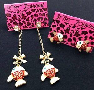 E9-Betsey-Johnson-Crystal-Deep-Sea-Summer-Beach-Dangling-Post-Fish-Earrings-US