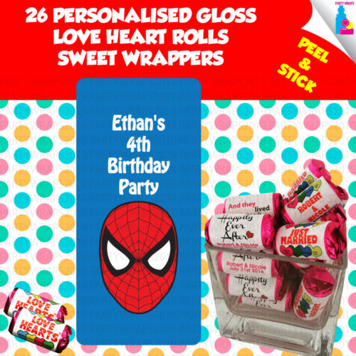 26 Personalised Marvel Spiderman Love Heart Rolls Birthday Party Wrappers