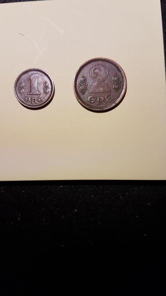 Danmark, mønter, 1 og 2 øre