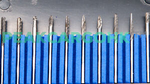 "Lot of 10 Solid Carbide Rotary Burr Bits Round Ball Head Shape 1//8/"" Shank Burs"