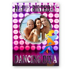 Personalised photo dancing diva music theme a5 happy birthday card image is loading personalised photo dancing diva music theme a5 happy bookmarktalkfo Images