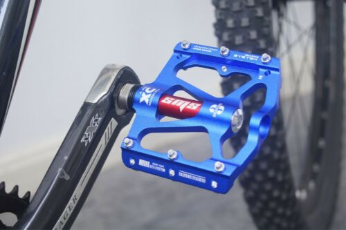 SMS Road BMX MTB Bike Bicycle 3 sealed Bearings Pedals flat Platform Pedal Blue