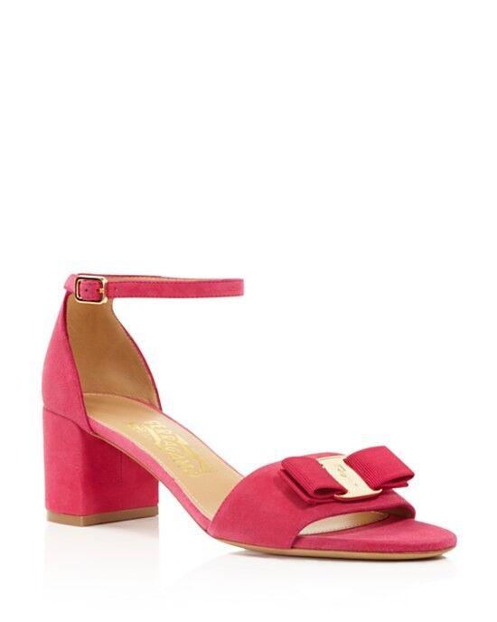 NIB Salvatore Ferragamo PINK Gavina Ankle Strap Block Heel Sandals PINK Ferragamo Size 9.5B 19dc8c