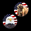 2 USA FLAG REFRIGERATOR MAGNETS 32100 button eagle buffalo independence day