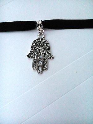 Adjustable Black Velvet Hamsa Hand Choker / necklace silver cross extender