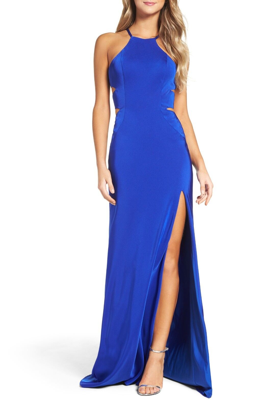 LA FEMME 24380 Sapphire bluee Strappy Sexy Cutout Satin Mermaid High Slit Gown 4