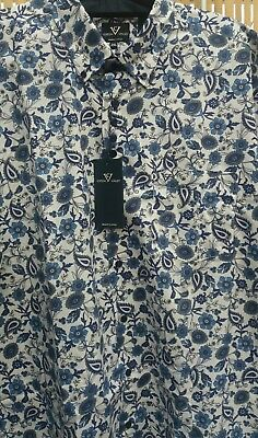 Manica Corta Camicia Blu Floreale in Cotone Valley 2XL3XL4XL5XL6XL7XL8XL