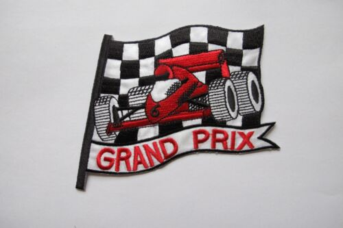 Vintage Grand Prix Car Embroidery Iron On Applique Patch