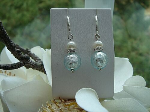 Silberohrringe mit Muranoglas in zartem Blau