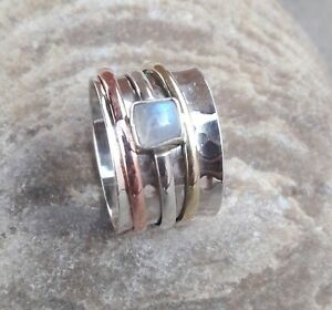 Rainbow-Moonstone-Solid-925-Sterling-Silver-Spinner-Ring-statement-ring-Size-07