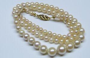 Alte-Perlenkette-Akoya-im-Verlauf-46-cm-4-0-8-2-mm-Schliesse-in-Gold-333