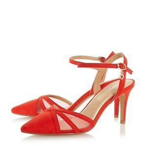 866b9d2f891 Details about BNIB Dune Red Suede Mesh Mid Heel Smart Buckle Strap Pointed  Evening Shoes Sz 6