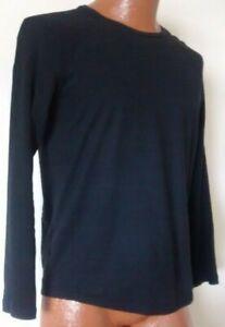 Hugo-Boss-Black-Label-Men-039-s-Black-Terell-Mercerised-Long-Sleeve-T-Shirt-S