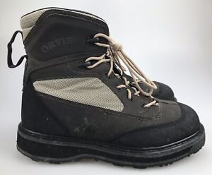 ORVIS-Wading-Boots-Vibram-Sole-Slip-Resist-METAL-CLEATS-Mens-Size-12-Lace-Up