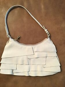 Yves Saint Laurent YSL St Tropez Small Ivory Color Leather Ruffle ...