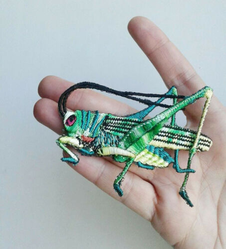 Grasshopper Insect Handmade Extra Quality Sew-On Embroidered Patch Applique