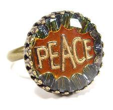 SoHo® Ring vintage bronze bohemia 1960er Jahre handgemachter Glasstein peace cab