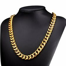 """6-15mm Mens Boy Gold Heavy Stainless Steel Curb Cuban Link Chain Necklace 18-31/"""""""