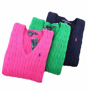 116022aff9 Polo Ralph Lauren Sport Women Solid Cable Knit V-Neck Sweater - Free ...