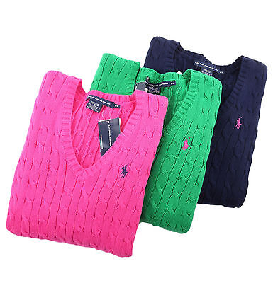 Polo Ralph Lauren Sport Women Solid Cable Knit V-Neck Sweater - Free $0 Shipping