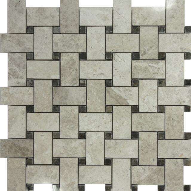 SAMPLE- Tundra Gray Marble Pattern Mosaic Tile Wall Sink Kitchen Backsplash Pool