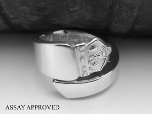 KING-GEORGE-VI-ASSAY-APPROVED-SOLID-STERLING-SILVER-SPOON-RING-SIZE-K-L-M-N