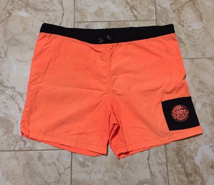 Vintage 80s Rip Curl Wet Suits Neon orange Swim Trunks Shorts Size Men's XL