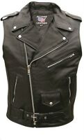 Allstate Leather Buffalo Leather Sleeveless Motorcycle Jacket-al2012