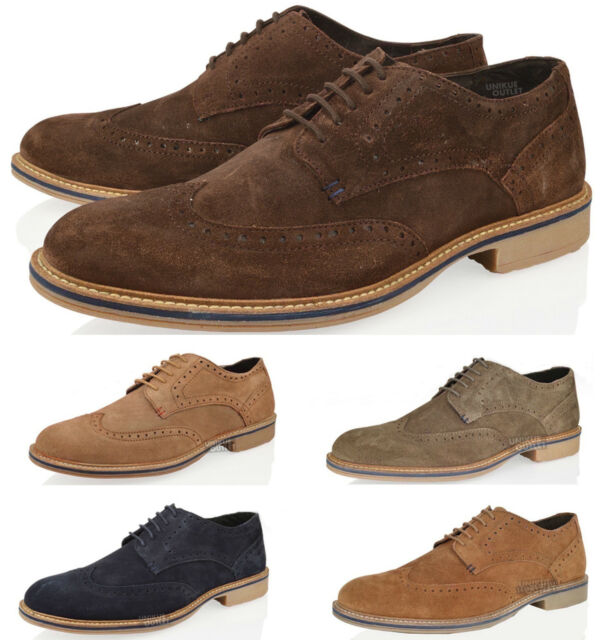MENS REAL LEATHER SUEDE BROGUES LACE UP SMART WORK VINTAGE FORMAL SHOES SIZE