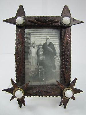 Picture Frames Old Tramp Art Wooden Frame Miniature Hand Carved Folk Art Tiered Lwr Stars Brass