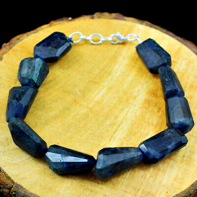 """160.00 Cts Natural 8/"""" Inches Long Blue Flash Labradorite Faceted Beads Bracelet"""