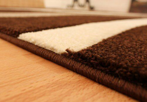 Abstract Contemporary Rug Chocolate Brown Brown Brown Beige Contour Cut Pattern Small Large 062d53