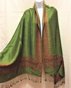 Lime-Green-Brown-Pashmina-Scarf-Shawl-Wrap-Winter-Long-Paisley-Leaves-NEW