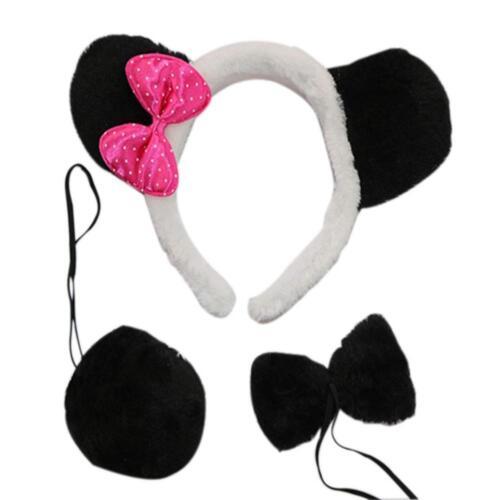 Marlegard 3PCs Funny Dalmatian Milk Leopard Costume Headband Ear with Tail Tie