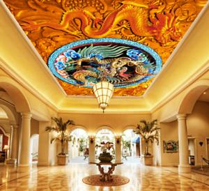 3D Dragon Totem 44 Ceiling Wall Paper Print Wall Indoor Wall Murals CA Jenny