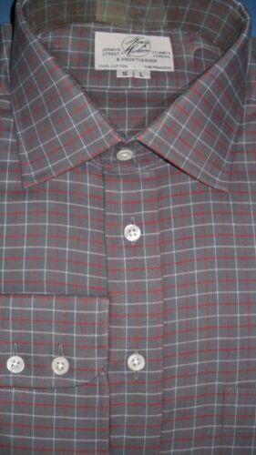 HARVIE /& Hudson 19//33.5 cotone spazzolato antracite//Borgogna Bracciale singolo Check Camicia