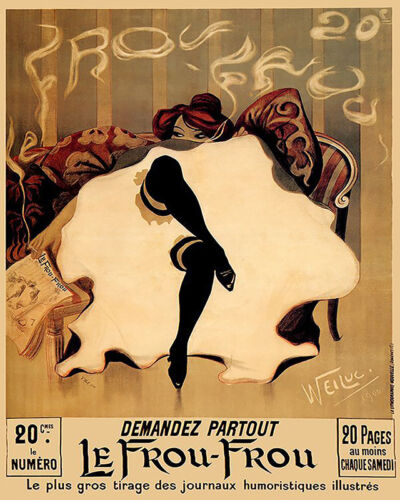 LE FROU FROU CANCAN DANCER NEWSPAPER SMOKING FRANCE FRENCH VINTAGE POSTER REPRO