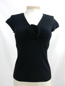ETCETERA-BLACK-KNIT-SHIRT-RIBBED-TOP-SWEATER-FLOWER-sizes-XS-S-M-XL-NEW-155