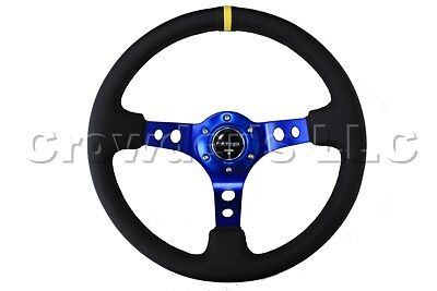 NRG Innovations ST-006NB 350mm 3 inches Deep Dish New Blue Spoke Black Leather Grip Steering Wheel