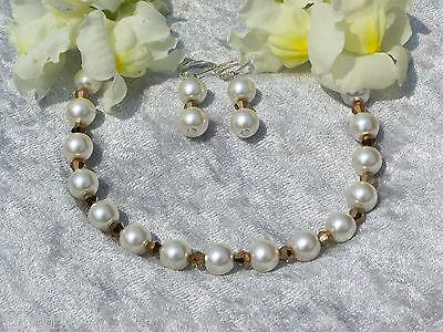Orecchini + Braccialetto Champagne Perle Oro Bicono Sposa Ornamento Da