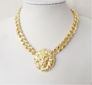 New-Coming-Occident-Fashion-Gold-Plated-Chunky-Link-Lion-Head-Choker-Necklace