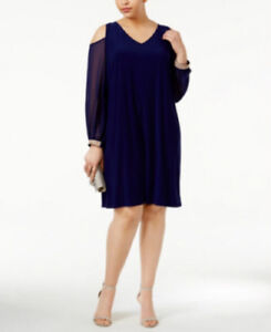 Details about MSK Women\'s Plus Size Midnight Blue Cold-Shoulder Embellished  Shift Dress